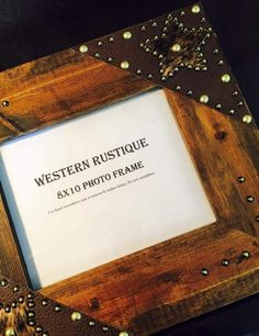 Western décor wood 8x10 Frame with Your choice of Hide Corners and Stain accented with hair on Hide star and metal rivets. by WesternRustique on Etsy