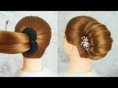 New French Bun Hairstyle Step By Step - French Roll Hairstyl.-New French Bun Hairstyle Step By Step – French Roll Hairstyle With Clutcher Wedding Guest Hairstyles, Party Hairstyles, Cool Hairstyles, Easy Hairstyles For Medium Hair, Braided Hairstyles, Pigtail Hairstyles, Step By Step Hairstyles, Short Hair Styles Easy, Medium Hair Styles