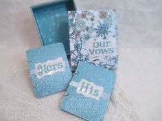 Wedding Vow Book Set  Winter Wedding Blue by TheMemoryKeeperShop