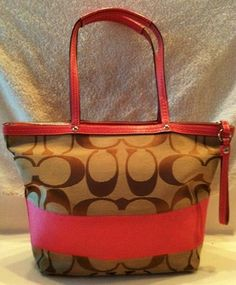 coach pink and gray purse fyuo  Auth Coach signature stripe PINK tote bag purse $60