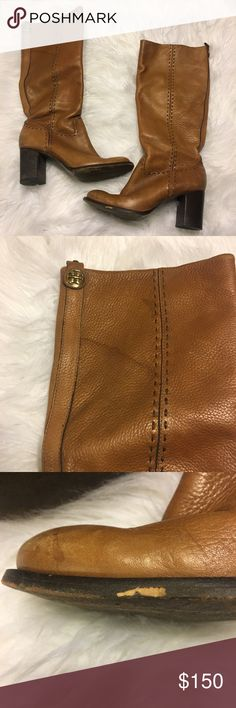 Tory Burch Stitched Block Tan Boots Tory Burch stitched block boots. These boots have some scuffs and a couple water marks. Please see all pictures. Size 9 Tory Burch Shoes Heeled Boots