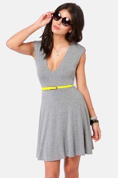 Cute Grey Dress - Skater Dress - Jersey Knit Dress - $38.50