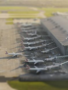 British Airways at Heathrow - Nice tilt-shift effect makes the planes look like toys.