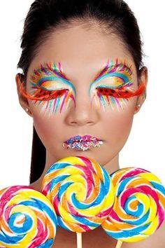 Lollipop Girl by Johnny Dao Exotic Makeup, Eye Makeup, Weird Makeup, Extreme Makeup, Candy Girls, Fantasy Make Up, Candy Makeup, Foto Fashion, High Fashion