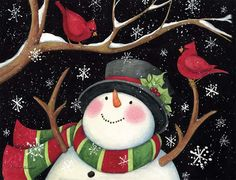 Snowman With Cardinals Holiday Christmas Cards , 1004705 | Lang