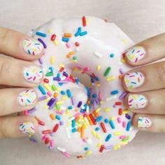 doughnut nails for kids / doughnut nails ; doughnut nails for kids ; Cute Nail Designs, Acrylic Nail Designs, Cute Nails, Pretty Nails, Sprinkle Nails, Birthday Nail Art, Nail Art For Kids, Girls Nails, Kid Nails