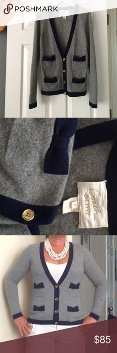 Coach 100% cashmere boyfriend cardigan Sz S fits 8 100% 2 ply cashmere with four small pockets that are useable for ids, keys or credit cards  (not just decorative).   Some minor piling -- see first pic.  Could be passed off as new with a trip to dry cleaners.  No longer sure if I will sell so firm on price for now but always open to reasonable offers.  No trades. Get a big discount if you bundle using the posh bundle option. Coach Sweaters Cardigans