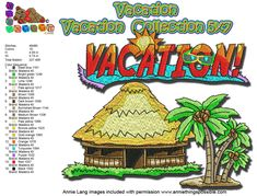 Vacation 5x7 Machine Embroidery design All Formats (Now available in 4x4 also)  #beach #vacation #summer #handmade Embroidery Software, Machine Embroidery Designs, Star Stitch, One Design, Happy Mothers Day, 4x4, Clip Art, Vacation, Beach