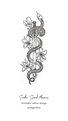 Pretty Tattoos, Cute Tattoos, Unique Tattoos, Body Art Tattoos, Small Tattoos, Sleeve Tattoos, Tattoos For Guys, Snake And Dagger Tattoo, Snake Tattoo