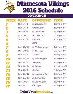 Minnesota Vikings Schedule - 2016