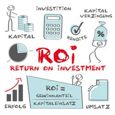 Vektor: ROI, return on investment, Strichmännchen