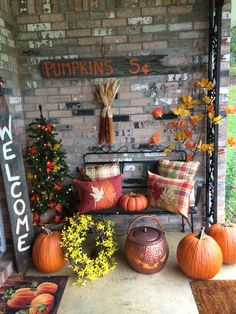 Fall is my favorite time of year and one thing I always love about this season is seeing all the beautiful fall home decor. Decorating front porch and deck is one of any people favorite things to do. Check out these cheap and easy fall porch ideas that wi Autumn Decorating, Porch Decorating, Decorating Ideas, Fall Mantel Decorations, Thanksgiving Decorations, Yard Decorations, Outdoor Thanksgiving, Thanksgiving Crafts, Fall Home Decor