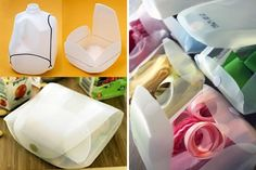 Milk jug containers for organizing supplies | 40 Brilliant DIY Organization Hacks