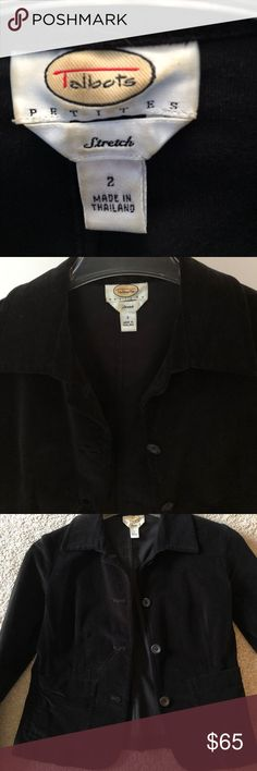Talbots black velvet jacket, with stretch So cute, black velvet jacket, with stretch material. Fully lined. Great condition. Talbots Jackets & Coats Blazers