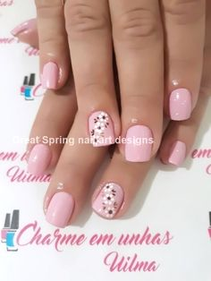 20 große Spring Nail Designs 2019 - only nails Flower Nail Designs, Nail Designs Spring, Nail Art Designs, Spring Nail Art, Spring Nails, Summer Nails, Nautical Nail Designs, Nautical Nails, Simple Acrylic Nails