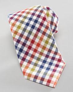 Box Check Cotton Tie, Orange/Navy by Neiman Marcus at Neiman Marcus.
