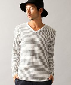 Beauty&youth United Arrows BY フライス ボーダー Vネック ロングスリーブ カットソー/ V-neck T-shirt on ShopStyle