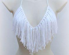 Ibiza style top. Boho crochet top. White by SexyCrochetDesign