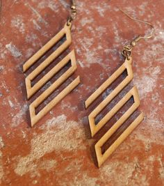 Diamond 3-S Lines Earrings-Laser Cut Wood by 3Dlaserworks on Etsy