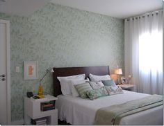 papel de parede decoração verde florido