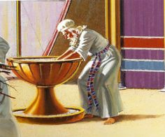 The Bronze Laver was used for purification of the priests working in the Tabernacle of Moses. Bible Notes, Bible Scriptures, Tabernacle Of Moses, Arc Of The Covenant, Arte Judaica, Bible Illustrations, Bible Pictures, Old And New Testament, Biblical Art
