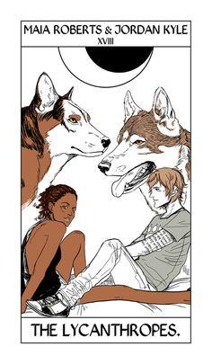 Maia Roberts & Jordan Kyle take the moon card in Shadowhunter Tarot by Cassandra Jean.