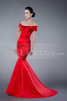 Superior Red Mermaid/Trumpet Off-the-Shoulder Zipper-Up Evening Dress : Tidebuy.com