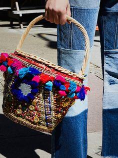 Embellished Straw Basket