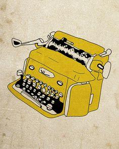 Yellow Typewriter  Illustration Print di NanLawson su Etsy, $10.00