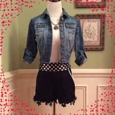 """Floral Cut-Out Shorts Get the Look . These cute and chic shorts are the rage!!!  This pair is Black with white trim about the waist/hip area, down the side and at the front pockets. Side zip closure. Only shorts are for sale. Waist/hip measures 15"""". Unk Shorts"""