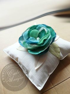 Light Ivory ring pillow with teal rose... | - Cute & Unique