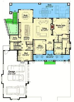 This could be an awesome lan for a timber frame home! | House Plan for a Rear Sloping Lot - 64452SC | Architectural Designs - House Plans
