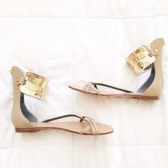 NEW!! Monika Chiang Gold Cuff Sandals Only worn once. Perfect condition!!! Monika Chiang Shoes Sandals