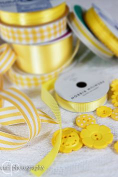 yellow ribbons & buttons Love this for gift projects