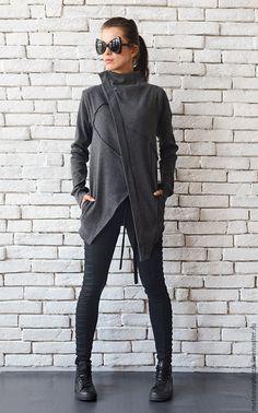 Купить Серый пиджак из хлопка, модный жакет в интернет магазине на Ярмарке Мастеров