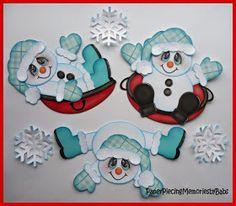 Snowmen and Reindeer Baby Scrapbook, Scrapbook Paper Crafts, Scrapbook Cards, Nail Art Noel, Paper Punch Art, Snowman Cards, Christmas Drawing, Paper Piecing Patterns, Scrapbook Embellishments