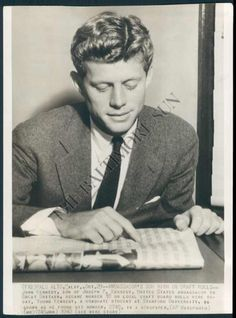A young Jack Kennedy and his untamed curls during his Harvard years in the 1940s.