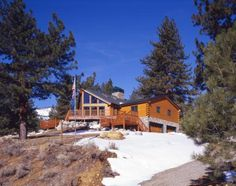Nevada log home in the winter