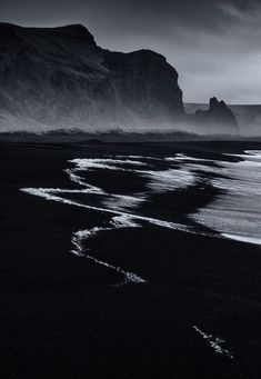 by Paul Andrew Black Sand Beach, Vik, Iceland Landscape Photography, Nature Photography, Photography Tricks, Digital Photography, Creative Photography, Black And White Aesthetic, Black And White Beach, Black And White Photography, Surfing