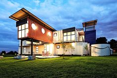 28 donated shipping containers were used to create New Jerusalem Orphanage, a Vibrant Shipping Container Home for South African children. Designed by 4D and A Architects.