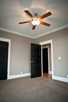 Grey Walls And Black Doors Rare To Find A Photo With Carpet - Bedroom carpet color ideas