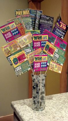 60th Anniversary gift for Grandma & Grandpa.  $60 worth of lotto tickets and they won $265!                                                                                                                                                                                 More