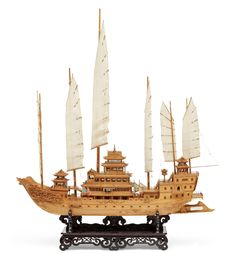 A large Chinese wooden ship model of an imperial djonk, Century. Chinese Boat, Junk Ship, Model Sailing Ships, Wooden Model Boats, Ship In Bottle, Scale Model Ships, Make A Boat, Wooden Ship, Nautical Art
