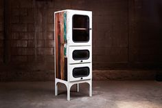 White glass Industrial vintage tall cabinets, made from reclaimed wood in the shape and form design of the medical cabinets feature in New York England UK White Industrial, Vintage Industrial, Reclaimed Wood Furniture, Industrial Furniture, Kitchen Chemistry, Steel Cabinet, Form Design, Fancy, Glass