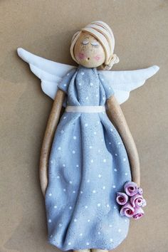 Made from salt dough, but would make a fab project for polymer clay. Salt Dough Projects, Salt Dough Crafts, Clay Projects, Salt Dough Christmas Ornaments, Angel Ornaments, Angel Crafts, Christmas Crafts, Pottery Angels, Handmade Angels