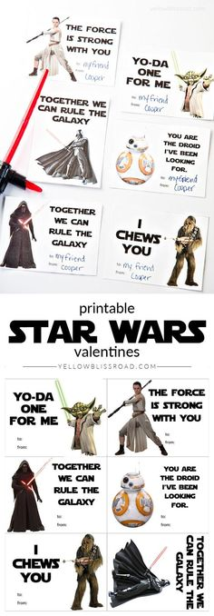 Printable Star Wars Valentines with New and Classic Characters: