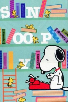 Snoopy at a Typewriter Writing a Book With Woodstock and Friends Sitting on Nearby Bookshelves