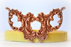 0981 Baroque Flourish Medallion  Silicone Rubber Flexible Food Safe Mold Mould- resin, clay, fondant, gum paste, candy, chocolate, soap $12.00 Etsy