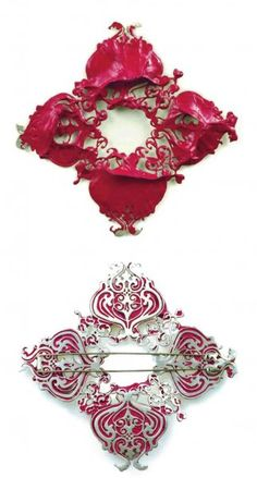 Allison Ullmer.  Frame #2 brooch, 2006.  Sterling silver, white gold, high gel medium, acrylic