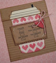 Valentine's Day coffee cup gift card holder. $3.50, via Etsy.